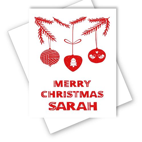 BAUBLES SCANDINAVIAN FOLK ART DESIGN MERRY CHRISTMAS CARD