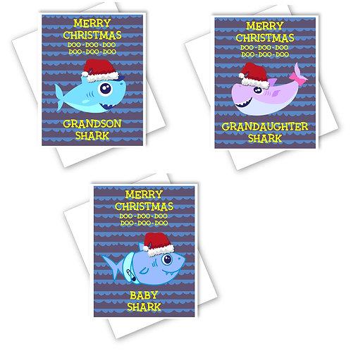 BABY SHARK CHRISTMAS CARD - GRANDAUGHTER GRANDSON