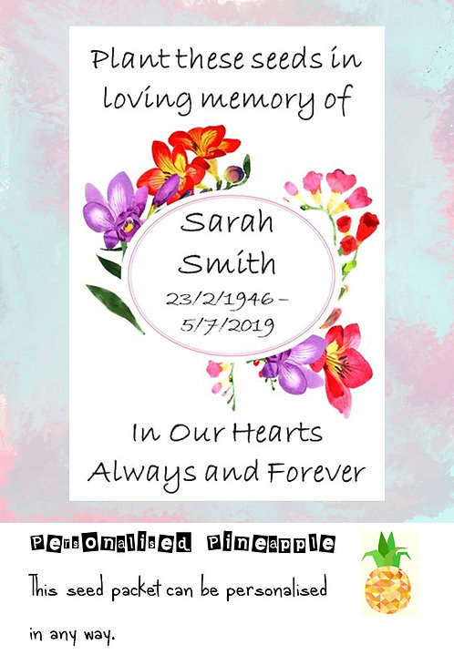 Funeral Fushia Flower Seed Packet Memorial Remembrance Favour White