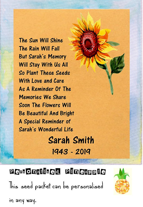 Funeral Sunflower Flower Seed Packet Memorial Remembrance Favour Brown
