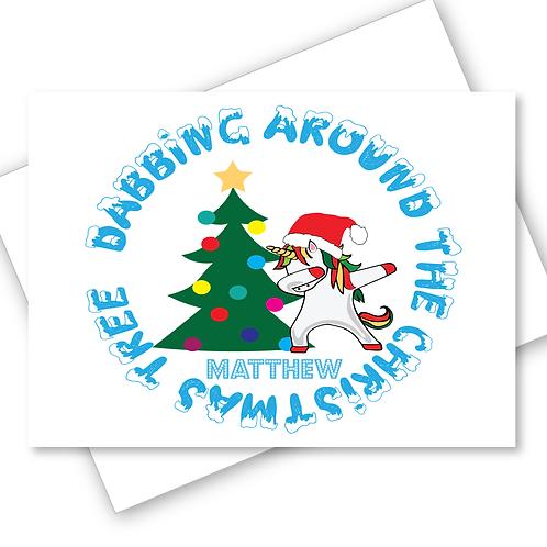Unicorn Christmas Card Dabbing Around Christmas Tree Son Daughter