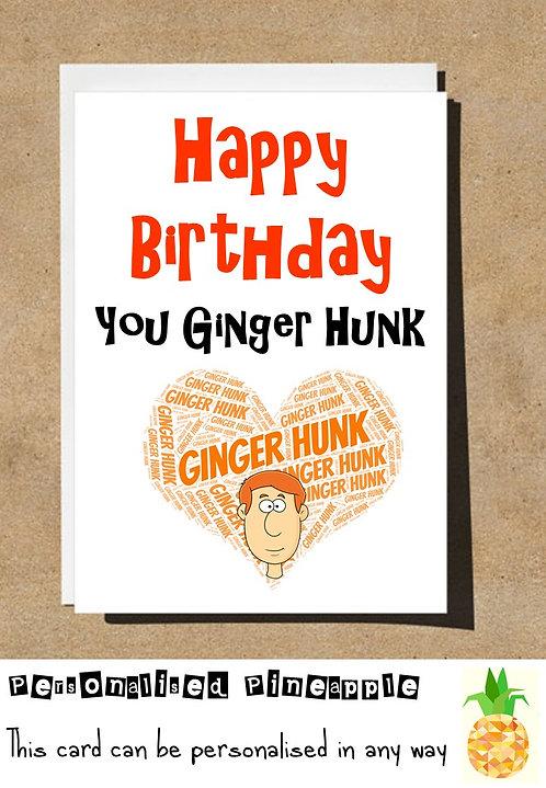 GINGER HUNK BIRTHDAY CARD