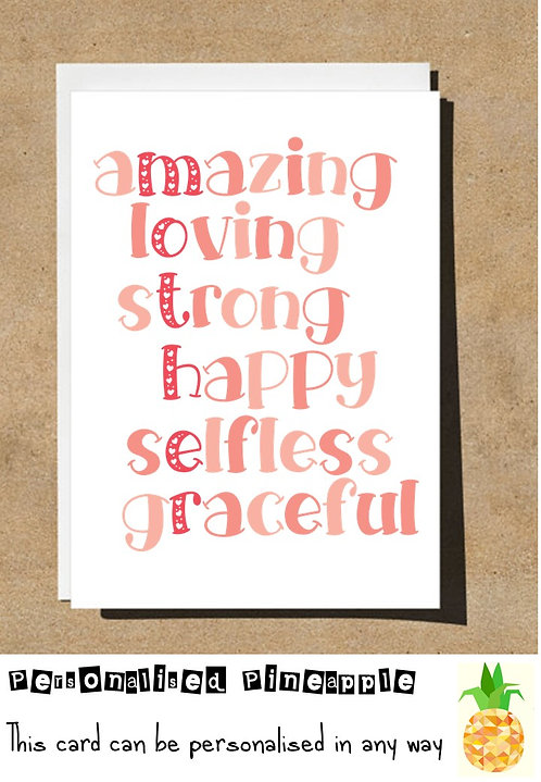 MOTHERS DAY / BIRTHDAY CARD - MOTHER WORD ART ACROSTIC