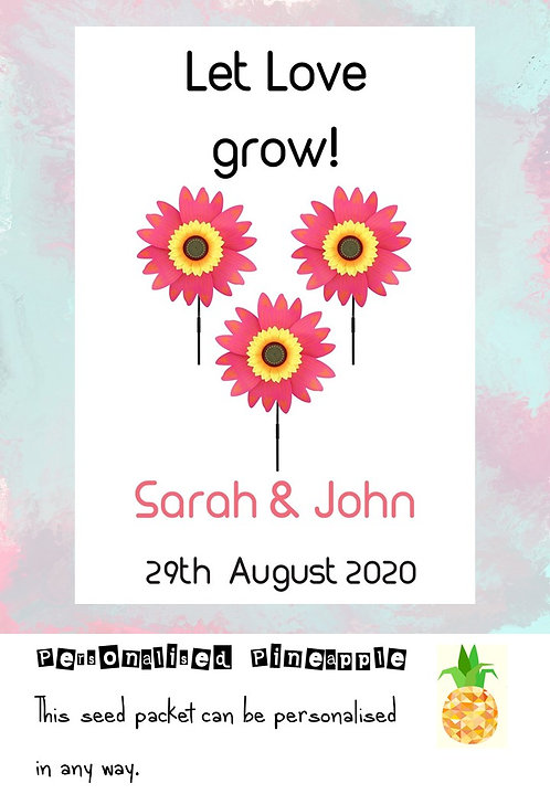 Wedding Pink Sunflower Flower Seed Packet Favour White