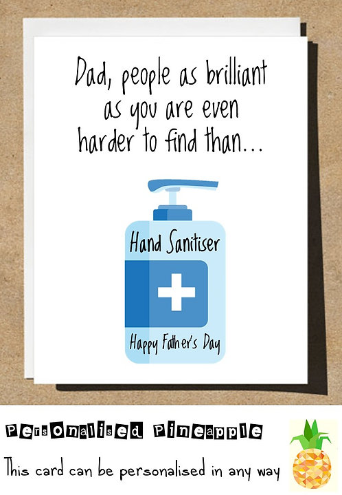 FATHERS DAY CARD -  HAND SANITISER -  LOCKDOWN