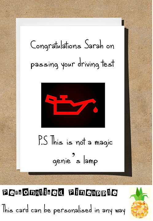 PASS DRIVING TEST MAGIC GENIE'S LAMP CONGRATULATIONS CARD
