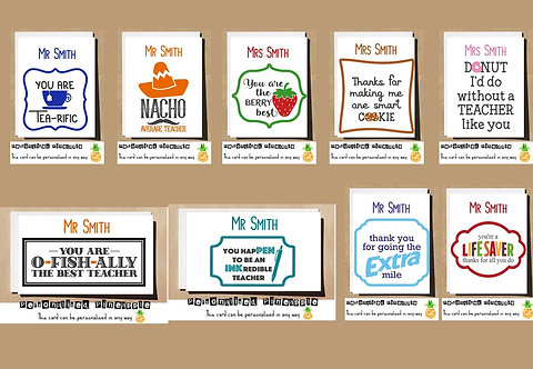 PERSONALISED TEACHER THANK YOU CARD - MANY DESIGNS