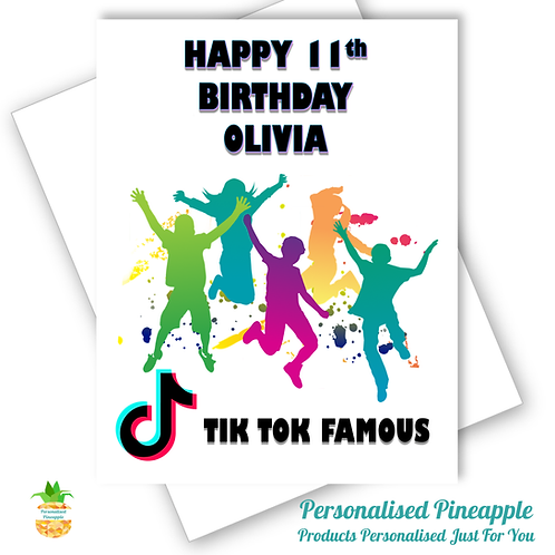 TIK TOK Famous Birthday Card Daughter Friend Son Can Be Personalised Name Age