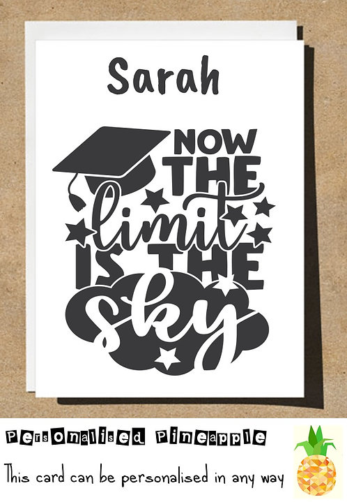 GRADUATION CARD - NOW THE LIMIT IS THE SKY