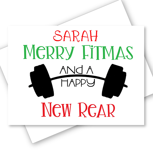 Christmas Card Merry Fitmas New Rear Gym Fitness Diet Funny Personalised