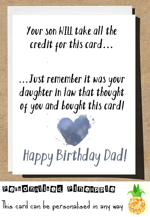 DAUGHTER IN LAW BIRTHDAY CARD FOR DAD