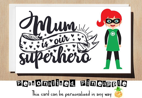 MOTHER'S DAY / BIRTHDAY CARD - MUM IS OUR SUPERHERO - GREEN LANTERN