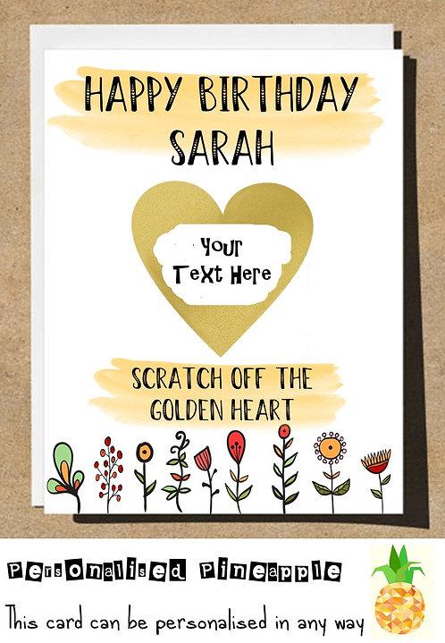 HAPPY BIRTHDAY GOLDEN HEART SCRATCH REVEAL SURPRISE BIRTHDAY