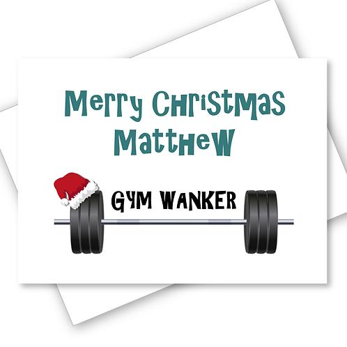 Christmas Card  Gym Wanker Profanity Adult Fitness Workout Funny Banter