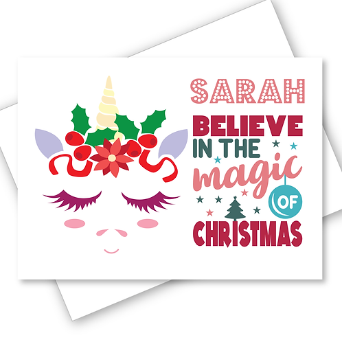 Unicorn Christmas Card Believe in the Magic Daughter Niece Friend