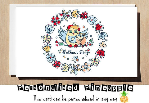 HAPPY MOTHER'S  DAY CARD - MOTHERS - OWLS AND  FLOWERS