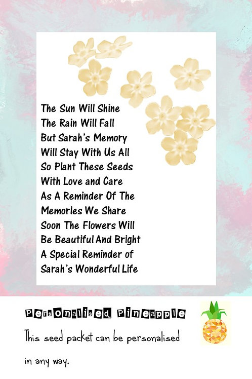Funeral Gold Flower Seed Packet Memorial Remembrance Favour White