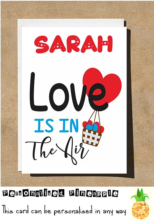 LOVE IS IN THE AIR - HOT AIR BALLOON - VALENTINES DAY / LOVE CARD - PERSONA