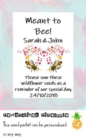 Wedding Meant to Bee Flower Seed Packet Favour White