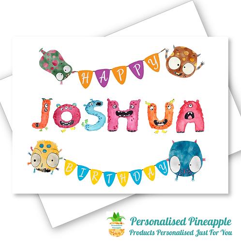 Monster Name Birthday Card Son Daughter Grandson Grandaughter Personalised
