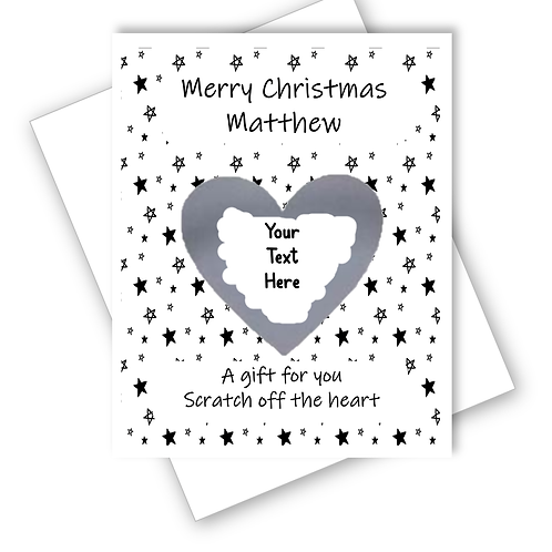 CHRISTMAS SILVER STARS SUPRISE CARD SCRATCH OFF REVEAL GIFT CAN BE PERSONALISED