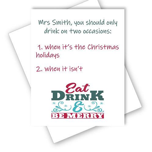 Teacher Christmas Card Drink Christmas Holidays