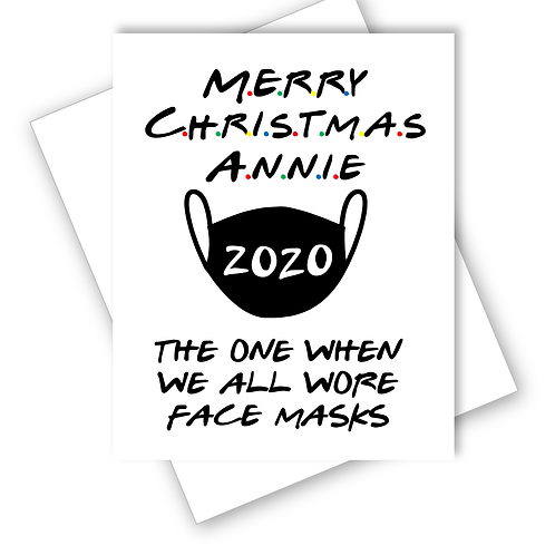 Christmas Card Friends Episode All Wear Face Masks Family Friend Personalised