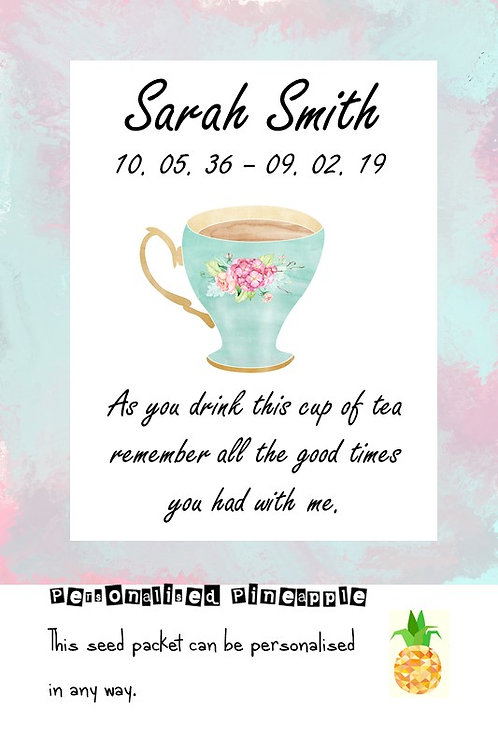 Funeral Tea Bag Cup of Tea Packet Memorial Remembrance Favour White