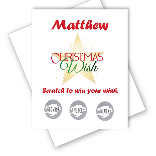 CHRISTMAS WISH CARD SCRATCH OFF SURPRISE - ADULT - CAN BE PERSONALISED