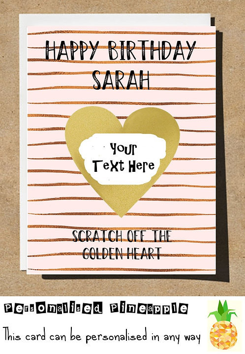 STRIPES GOLDEN HEART SCRATCH REVEAL SURPRISE BIRTHDAY