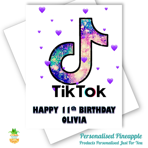 TIK TOK Birthday Card Daughter Friend Girlfriend Sister Can Personalised Name