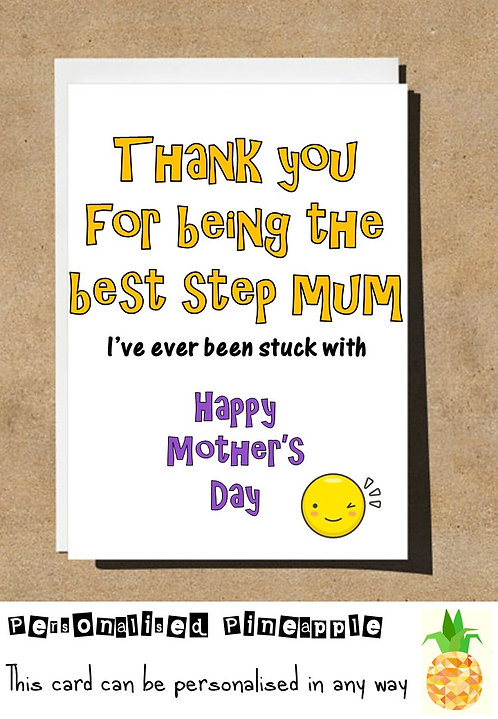 FUNNY BEST STEP MUM MOTHERS DAY CARD