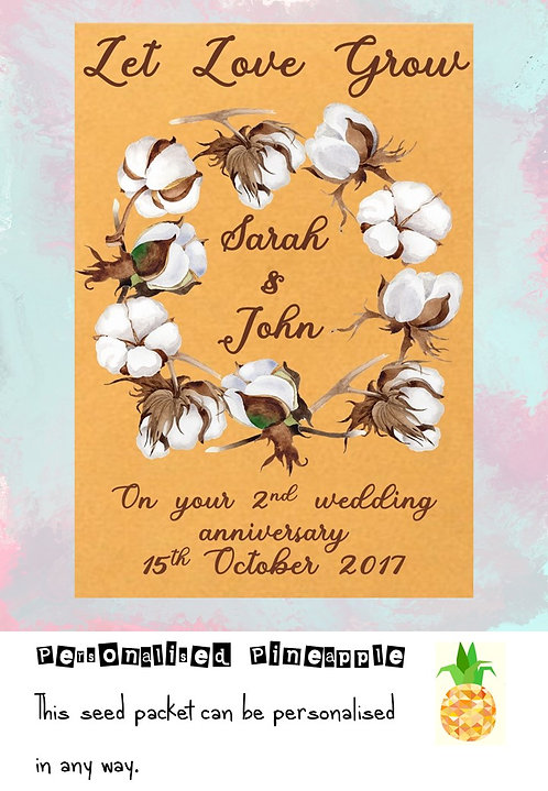 Cotton 2nd Wedding Anniversary Flower Seed Packet Favour Brown