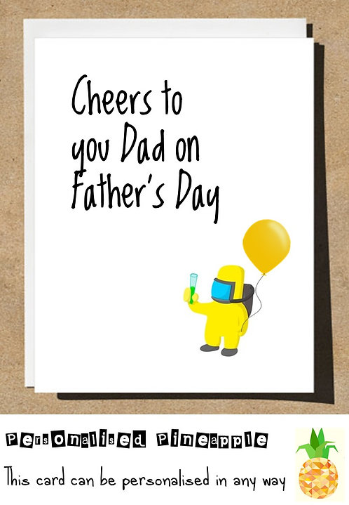 FATHERS DAY CARD - CHEERS - HAZMAT SUIT LOCKDOWN