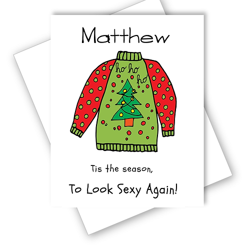 Christmas Card Tis Season to Look Sexy Again Christmas Jumper Funny Personalised