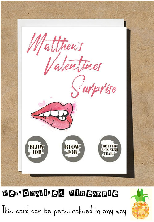 VALENTINES DAY SURPRISE SCRATCH OFF REVEAL CARD- ADULT - PERSONALISED