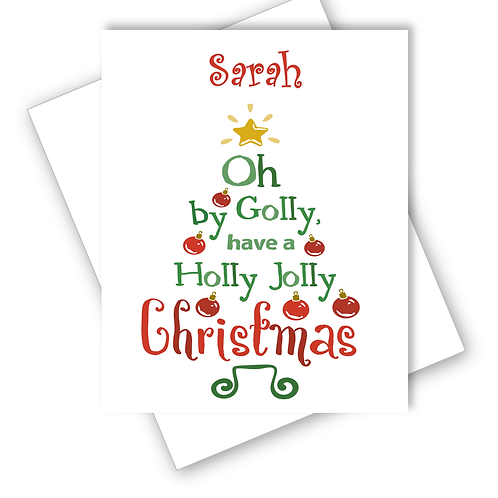 Christmas Card Tree Oh by Golly Have a Holly Jolly Christmas