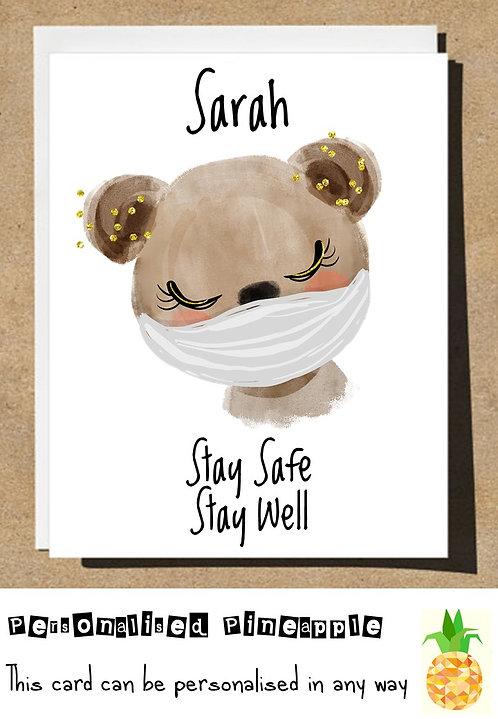 BEAR MASK STAY SAFE STAY WELL LOCKDOWN CARD