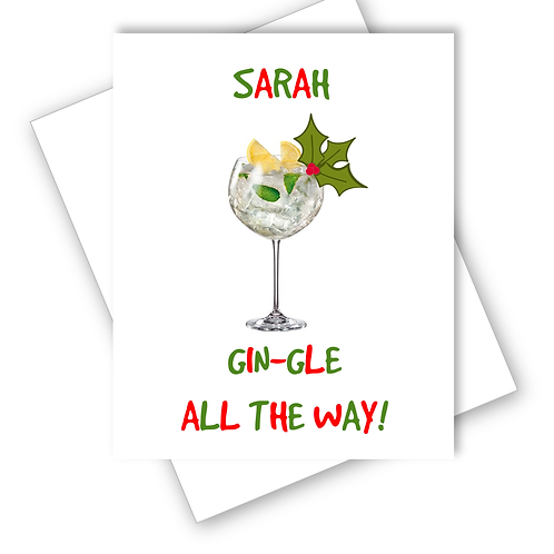 Gin Christmas Card Gin-gle All the Way