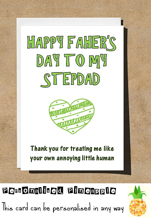 FATHERS DAY CARD STEPDAD FUNNY BANTER HUMOUR