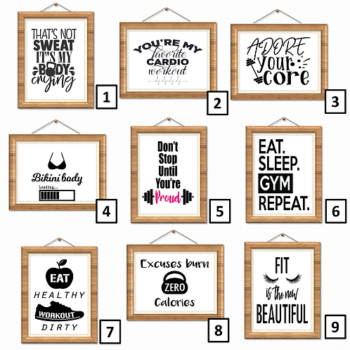 Fitness Gym Workout Wall Art Print Poster Decor Quotes - Choose Design