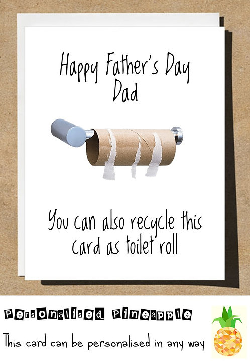FATHERS DAY CARD - RECYCLE THIS CARD  AS TOILET ROLL - LOCKDOWN