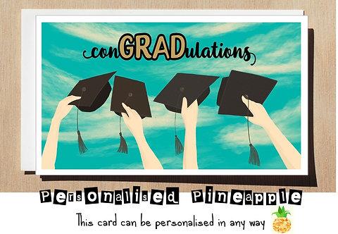 GRADUATION CARD - CON'GRAD'ULATIONS - HATS