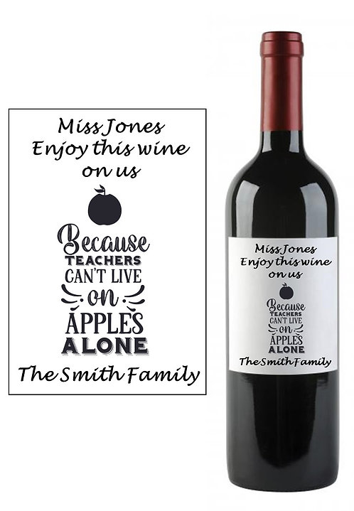 Personalised Teacher Teaching Wine Bottle Label Gift