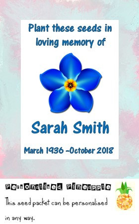 Funeral Forget Me Not Flower Seed Packet Memorial Remembrance Favour White