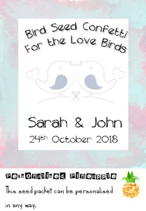Wedding Love Birds Bird Seed Confetti Packet Favour White