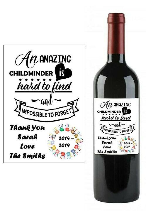 Personalised Teacher Childminder Teaching Wine Bottle Label Gift