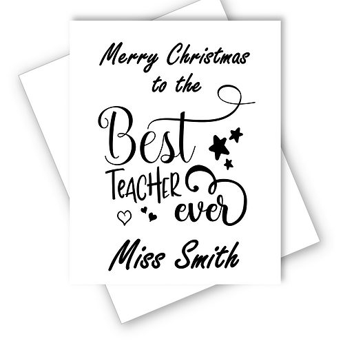 Merry Christmas Card Best Teacher Ever