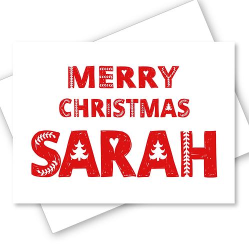 SCANDINAVIAN FOLK ART DESIGN MERRY CHRISTMAS CARD