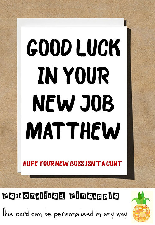 GOOD LUCK IN YOUR NEW JOB NEW BOSS CARD